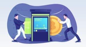 телефон за крипто търговия - анимация